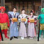 岡ゆう子、岩出和也、上野優華のキングレコード3アーティストが東京・護国寺で豆まき&ミニライブ