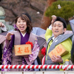 ■福田こうへい&水城なつみが東京・護国寺で豆まき&ミニライブ。共に2月発売の新曲を披露