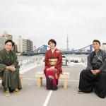 ■福田こうへい、三山ひろし、市川由紀乃の3人がCSチャンネル銀河の特番に出演。屋形船で番組収録